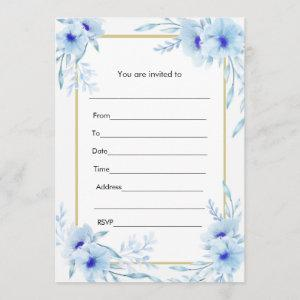 Floral Watercolor Blue Gold Invitation Fill In starting at 2.51