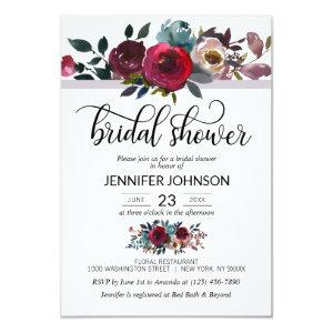 Floral Watercolor Burgundy Purple Bridal Shower Invitation starting at 1.95