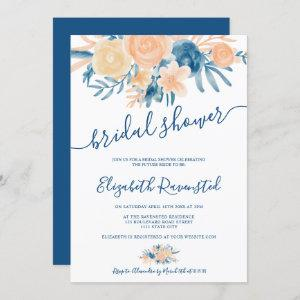 floral watercolor navy blue peach bridal shower invitation starting at 2.40