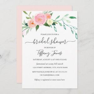 Floral Watercolor Pink Peach Modern Bridal Shower Invitation starting at 2.66