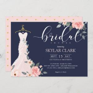 Floral Wedding Dress Navy Bridal Shower Invitation starting at 2.66