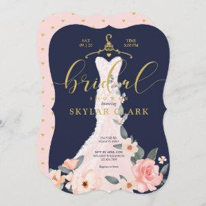 Floral Wedding Dress Navy Bridal Shower Invitation starting at 2.91