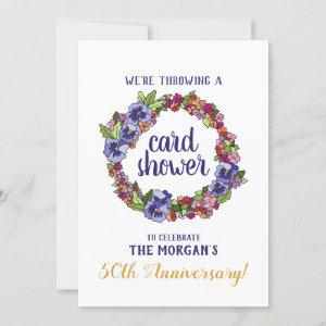 Floral Wreath 50th Anniversary Card Shower Request starting at 2.45