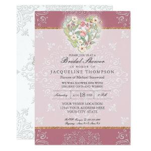 Flower Heart w Lace Dusty Berry Pink Bridal Shower Invitation starting at 2.66