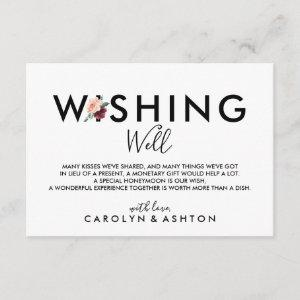 Flower Lettering   Maroon Wedding Wishing Well Enclosure Card starting at 1.91