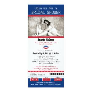 Football Ticket Blue and Red Bridal Shower Invitation starting at 2.82