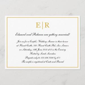 Formal Calligraphy Gold Monogram Couples Shower Invitation starting at 2.51