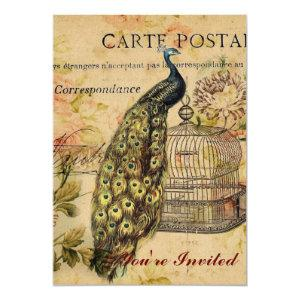 french country art nouveau vintage peacock invitation starting at 2.77