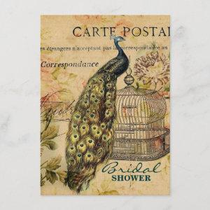 french country art nouveau vintage peacock invitation starting at 2.42
