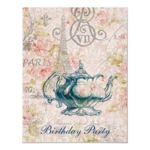 french country garden birthday tea party invitation starting at 2.42