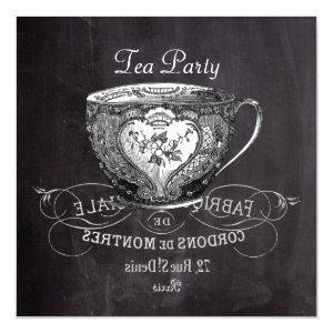 french country teacup chalkboard tea party invitation starting at 2.67