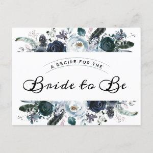 French Twilight Floral Bridal Shower Recipe Card starting at 1.70