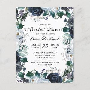 French Twilight Floral Future Mrs Bridal Shower Invitation Postcard starting at 1.70