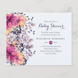 Fuchsia Ginger Floral Baby Shower Invites BUDGET starting at 0.61