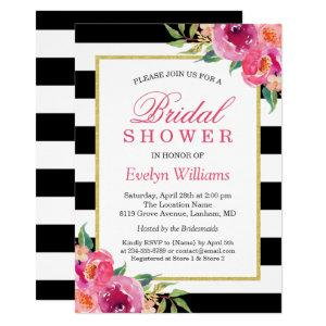 Fuchsia Purple Red Floral Stripes Bridal Shower Invitation starting at 2.30