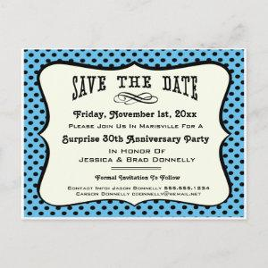 Fun Blue Polka Dot Party or Reunion Save the Date Announcement Postcard starting at 1.75