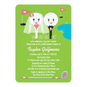 Fun Golf Ball and Tee Bride Groom Bridal Shower Invitation starting at 2.86