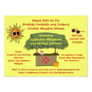 Fun Summer Tiki Hut Cookout Couples Bridal Shower Invitation starting at 2.77