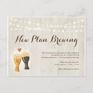 Funny Beer Wedding Postponed Announcement Postcard starting at 1.91