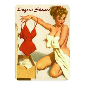 Funny retro pin up lingerie shower invitation starting at 2.51