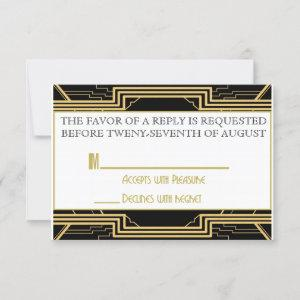 Gatsby Gold Wedding Suite Ceremony RSVP Party starting at 1.95