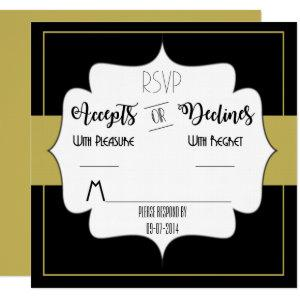 Gatsby Gold Wedding Suite Reception Party RSVP Invitation starting at 2.35