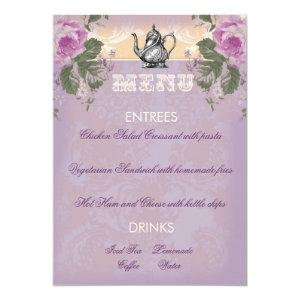 GC Vintage Bridal Shower Tea Party Menu Invitation starting at 2.56