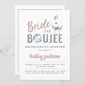 Genna - Rose Gold Bride and Boujee Champagne Invitation starting at 2.55