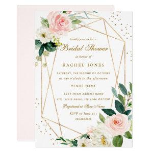 Geometric Blush Gold Floral Bridal Shower Invite starting at 2.40