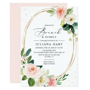 Geometric Blush Pink Floral Brunch & Bubbly Shower Invitation starting at 2.26