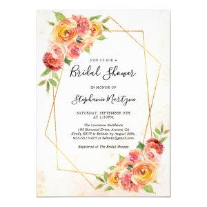 Geometric Fall Floral Watercolor Bridal Shower Invitation starting at 2.40