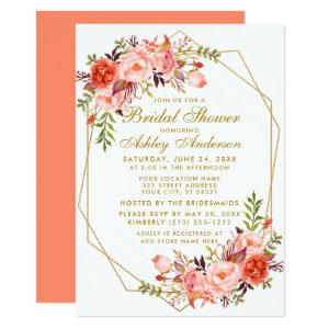 Geometric Gold Coral Floral Bridal Shower Invitation starting at 2.51