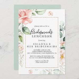 Geometric Gold Green Bridesmaids Luncheon Shower Invitation starting at 2.51
