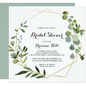 Geometric Gold Tropical Green Bridal Shower Invitation starting at 2.41