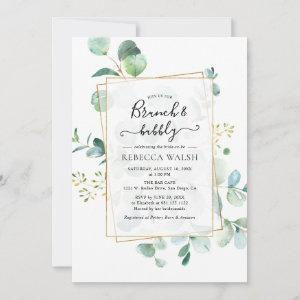 Geometric Greenery Brunch and Bubbly Bridal Shower Invitation starting at 2.35