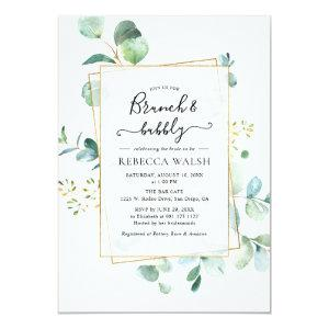 Geometric Greenery Brunch and Bubbly Bridal Shower Invitation starting at 2.51