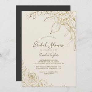 Gilded Floral   Cream and Gold Bridal Shower Invitation starting at 2.51