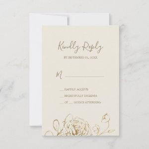 Gilded Floral | Cream and Gold Simple RSVP Card starting at 2.01