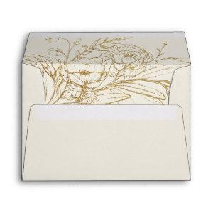 Gilded Floral | Cream and Gold Wedding Invitation Envelope starting at 0.85