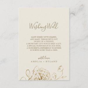 Gilded Floral Rose Cream Wedding Wishing Well Card starting at 1.91