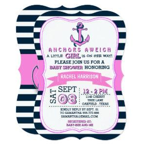 Girl's Nautical Anchor Baby Shower Invitations starting at 2.76