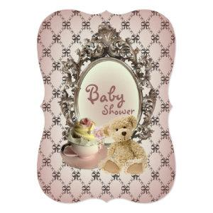 girly bows teddy bear baby shower invitations starting at 3.02