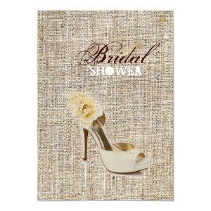 Girly Chic Rustic Country burlap bridal shower Invitation starting at 2.77