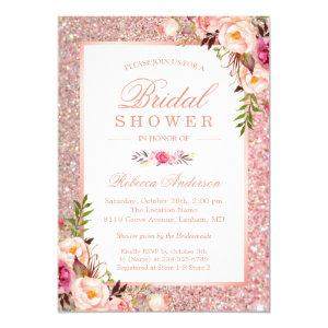 Girly Rose Gold Glitter Pink Floral Bridal Shower Invitation starting at 2.10