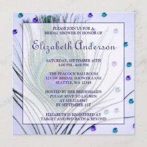 Glam Peacock Feather Purple Bridal Shower Invitation starting at 2.41