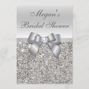 Glamorous Silver Sequins Bow Bridal Shower Invitation starting at 2.55