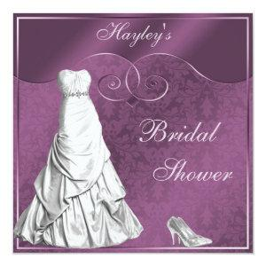 Glamorous Wedding Gown Purple Bridal Shower Invitation starting at 2.51