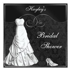 Glamorous White Gown Black Silver Bridal Shower Invitation starting at 2.51