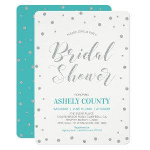 Glitter Silver & Tiffany | Modern Bridal Shower Invitation starting at 2.65