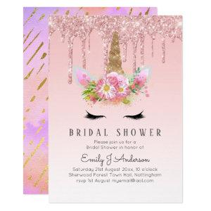 Glitter Unicorn BRIDAL SHOWER Pink Gold Dripping Invitation starting at 2.40